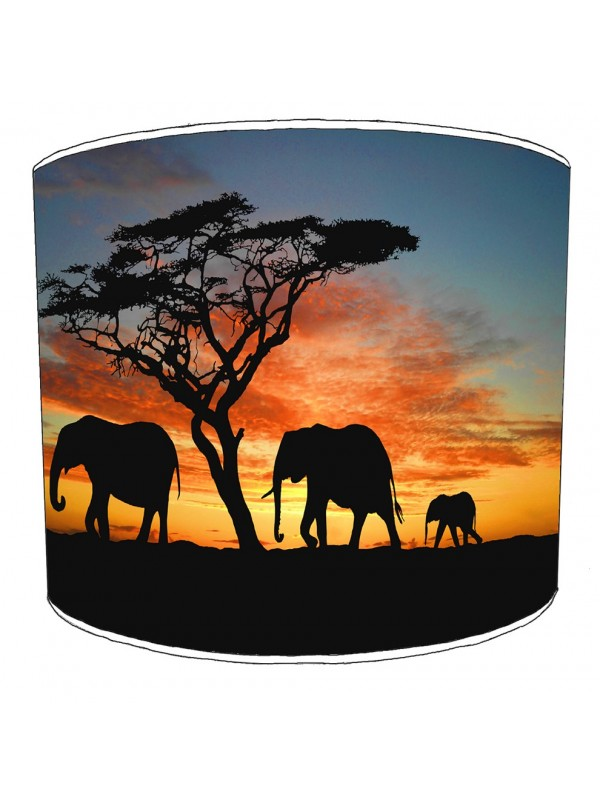 elephant family sunset lampshade
