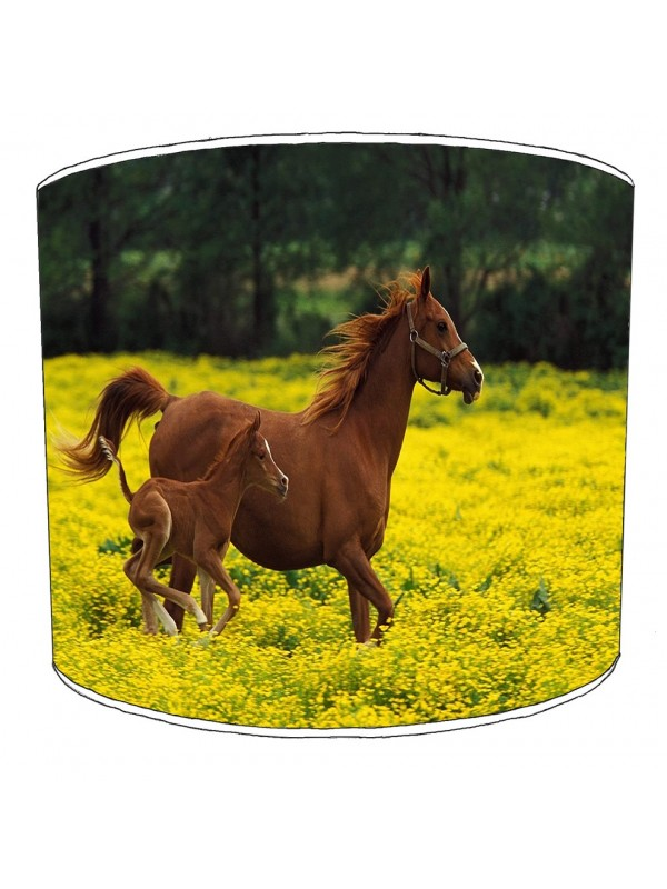 horse and foal field lampshade