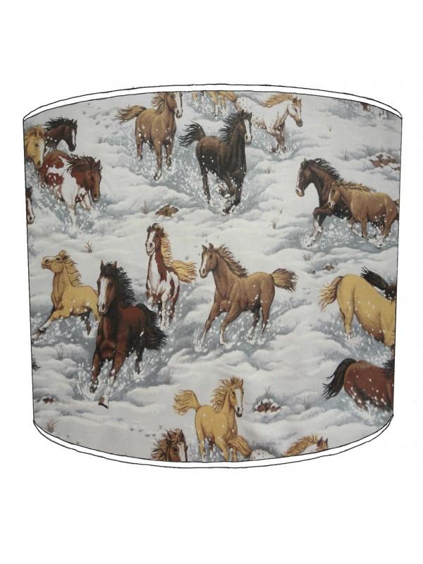 winter horses art lampshade