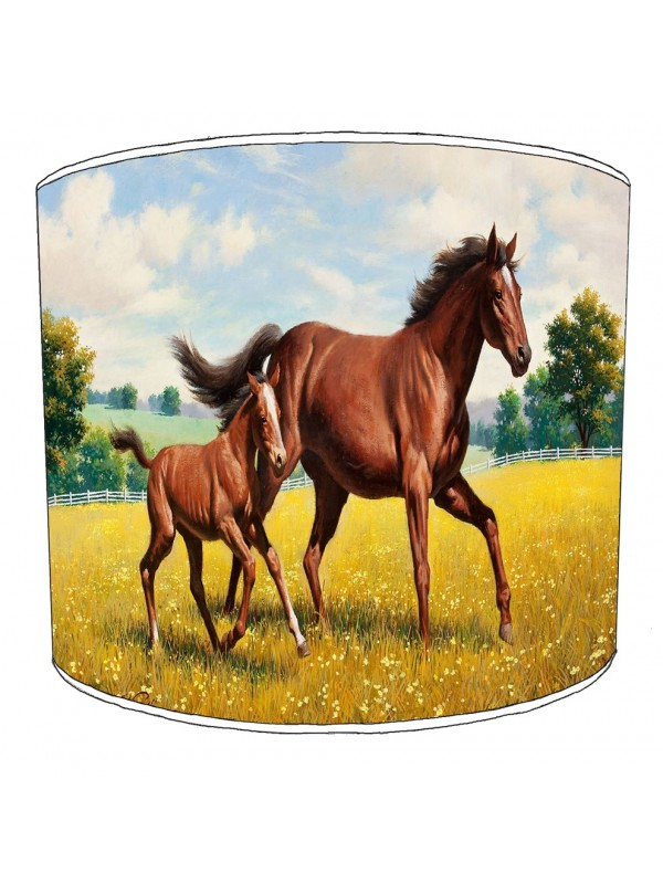 horse and foal art lampshade
