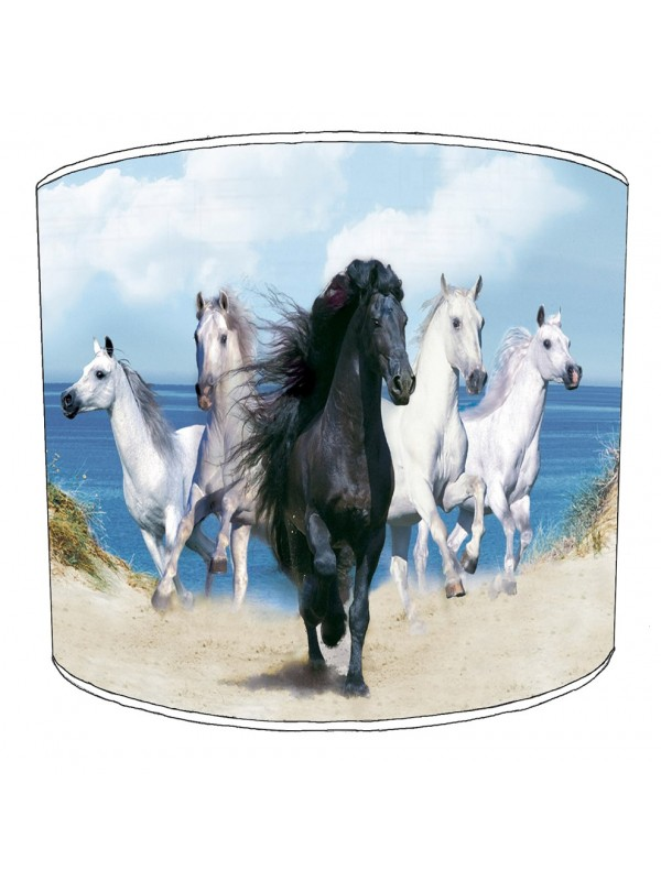 black and white horses lampshade