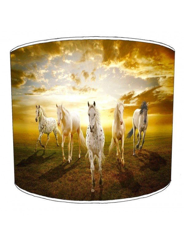 horses field sunset lampshade