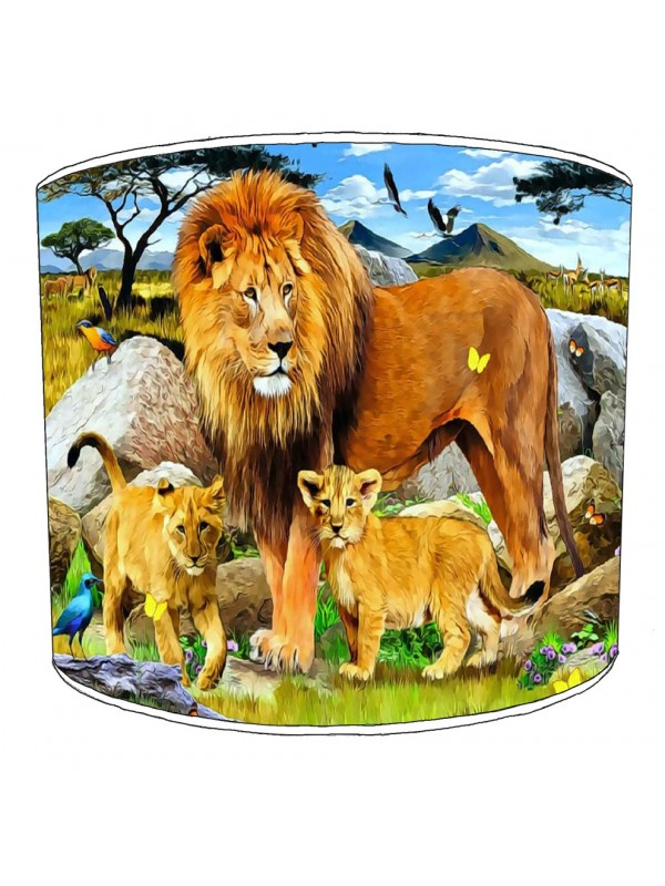 lion and cubs lampshade