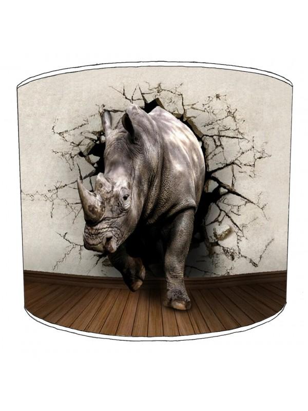 Rhino Childrens Lampshade 4, White Childrens Lampshade