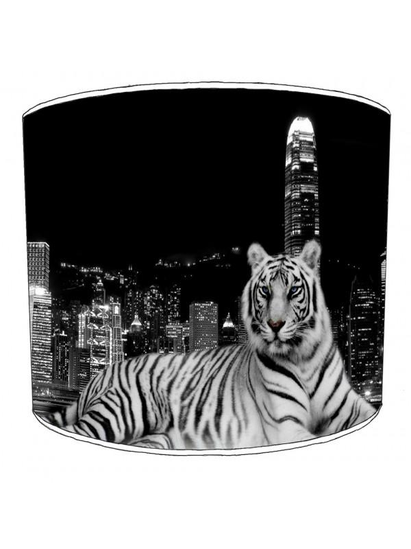 white tiger cityscape lampshade