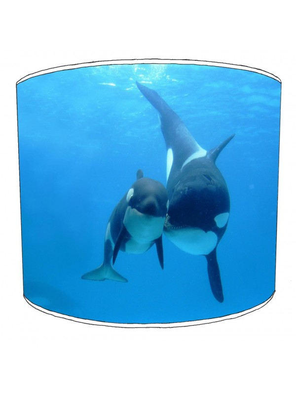 mother and calf killer whale lampshade