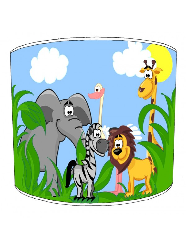 cartoon jungle animals lampshade