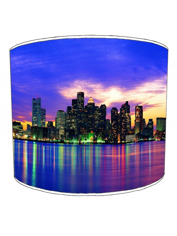 city of new york blue skyline lampshade
