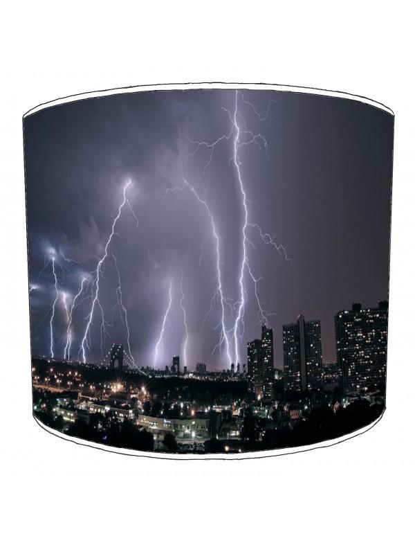 city of new york lightening skyline lampshade
