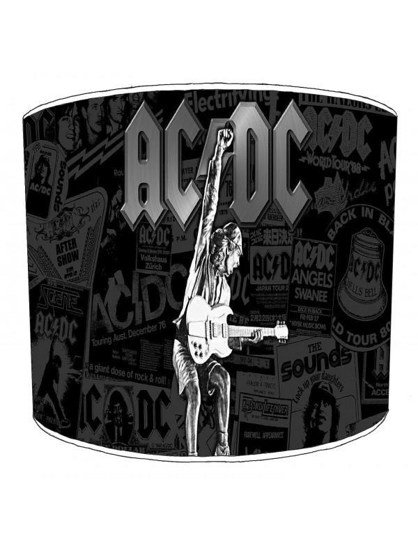 ac dc rock collage lampshade